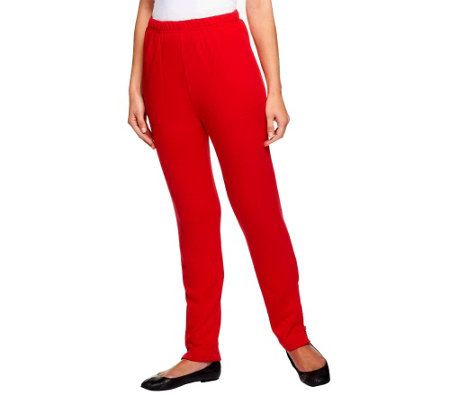Quacker Factory Tall Knit Leggings w/ Rhinestone Zipper at Leg