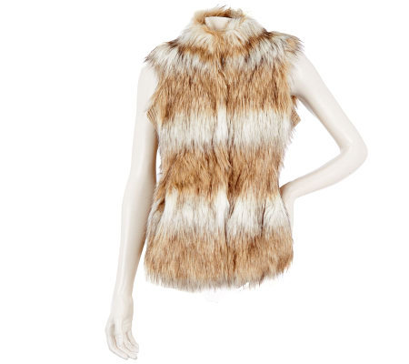 Dennis Basso Striped Tipped Faux Fur Vest with Knit Side Panels