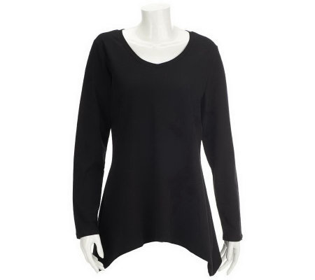"""As Is"" Denim & Co. Long Sleeve V-Neck Trapeze Hem Knit Top"