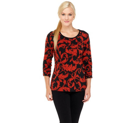Susan Graver Liquid Knit Printed Top with Ruched 3/4 Sleeves