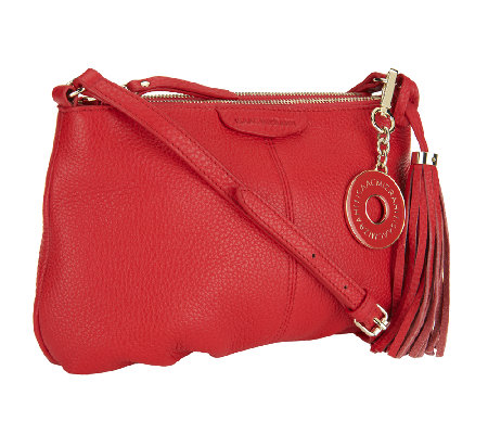 Isaac Mizrahi Live! Bridgehampton Leather Zip Top Crossbody Bag