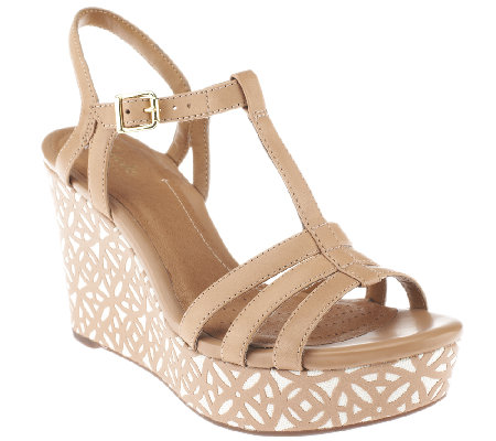 Clarks Artisan Leather Multi-strap Wedge Sandals - Amelia Avery