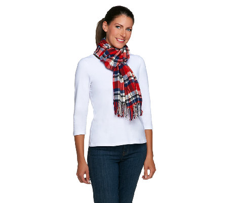 Joan Rivers Plaid Scarf with Fringe
