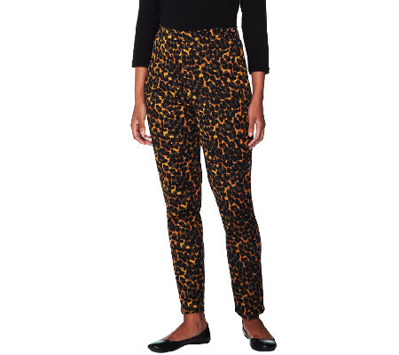 Isaac Mizrahi Live! 24/7 Stretch Animal Print Ankle Pants