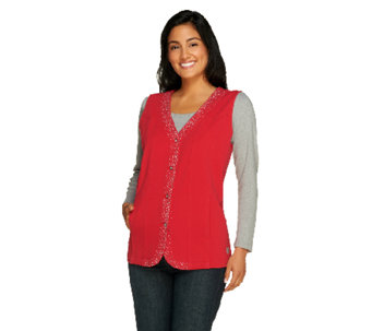 Quacker Factory DreamJeannes Sparkle Button Front Vest - A256185