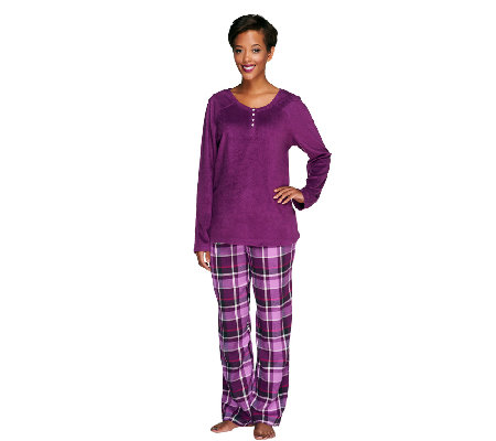Carole Hochman Pajama Set with Fleece Top and Flannel Pants