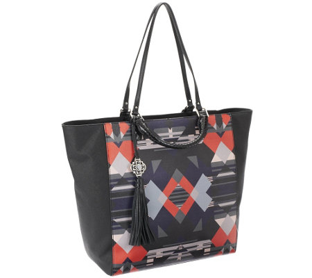 Rafe Large Joey Coated Canvas Tote w/ Leather Trim