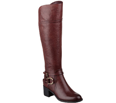 Marc Fisher Leather Riding Boots w/ Hardware Accent - Kierra