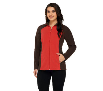 Denim & Co. Active Fleece Color-Block Zip Front Jacket - A259185