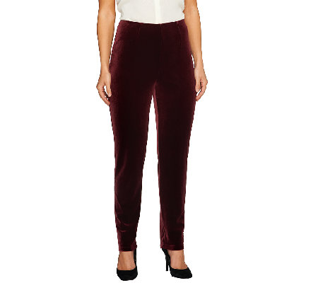Susan Graver Knit Velvet Slim Leg Pull-On Pants