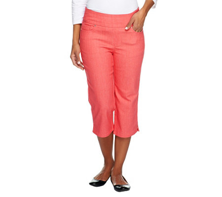 """As Is"" Denim & Co.   ""How Smooth"" Petite Capri Pants with Pockets"