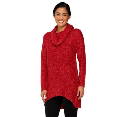 Denim & Co. Boucle Cowl Neck Sweater w/ Hi-Low Hem - Page 1 — QVC.com