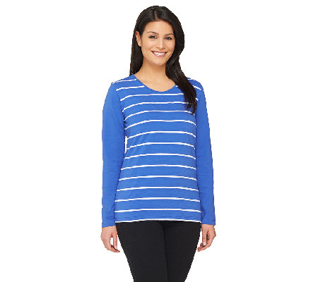 Denim & Co. Perfect Jersey Stripe Top with Solid Long Sleeves
