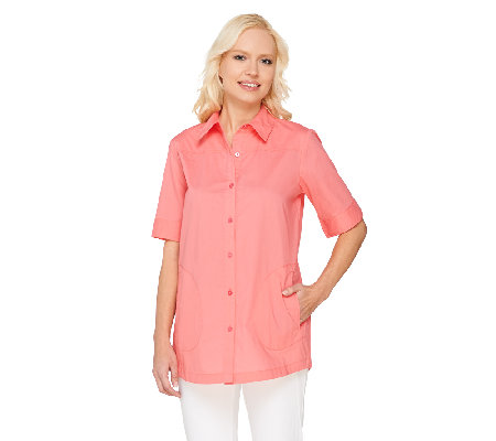 Joan Rivers Classic Short Sleeve Boyfriend Shirt
