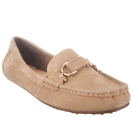 """As Is"" Isaac Mizrahi Live! Suede Moccasins with Horsebit Detail"