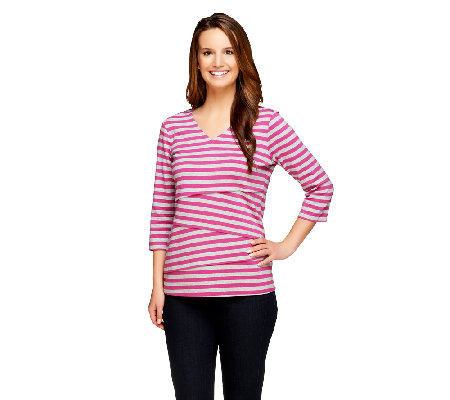 """As Is"" Denim & Co. Tiered Striped Knit 3/4 Sleeve V-Neck Top"