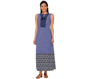 Isaac Mizrahi Live! Geo Printed Maxi Dress w/ Embroidery - A264685