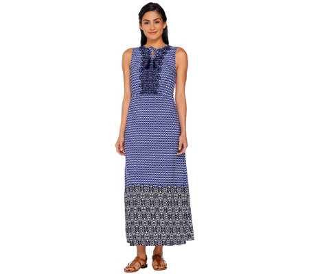 Isaac Mizrahi Live! Geo Printed Maxi Dress w/ Embroidery
