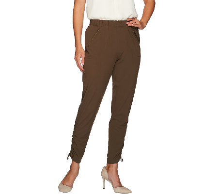 Lisa Rinna Collection Pull-On Ankle Pants with Zip Pockets