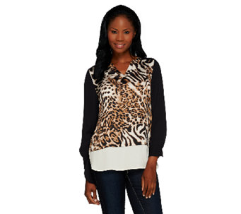 Susan Graver Printed Charmeuse and Solid Feather Weave Shirt - A267985