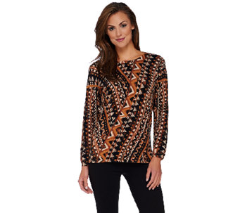 Bob Mackie's Printed Sweater Knit Top with Side Slits - A268385