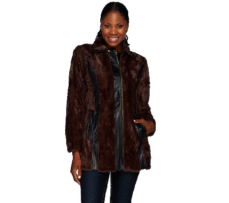 Styled by Joe Zee Faux Fur Coat with Faux Leather Details