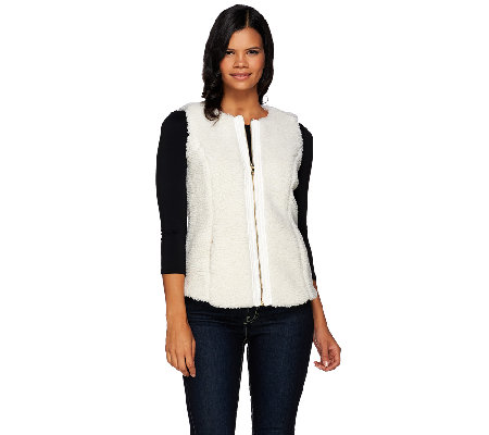 Denim & Co. Zip Front Faux Sherpa Vest