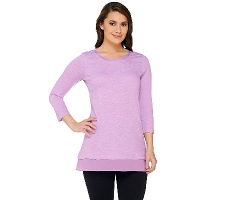 """As Is"" LOGO by Lori Goldstein Flocked Slub Knit Top with Trim Detail"