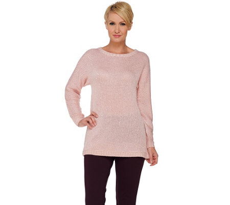 H by Halston Long Sleeve Sequined Yarn Sweater