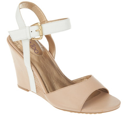 """As Is"" Me Too Leather Wedges with Ankle Strap - Lucie"