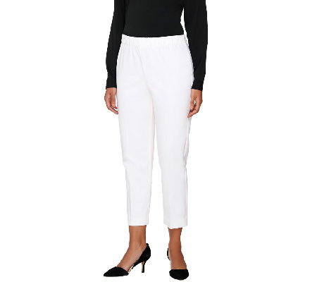 """As Is"" Susan Graver Coastal Stretch Pull-On Crop Pants with Comfort Waist"