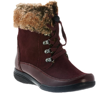 6ee7594dc5c Clarks Leather Water Resistant Ankle Boots w/ Faux Fur - Kearns ...