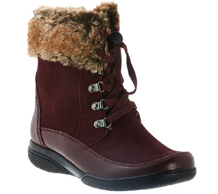 Clarks Leather Water Resistant Ankle Boots w/ Faux Fur - Kearns ...