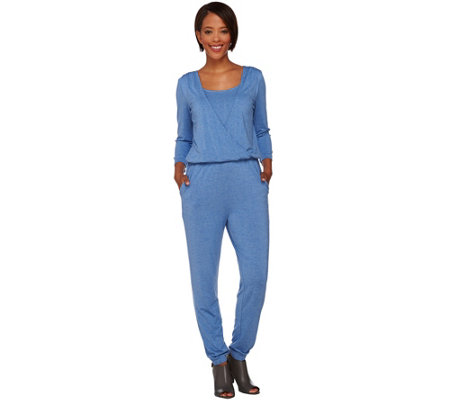H by Halston Knit Wrap Front 3/4 Sleeve Jumpsuit