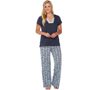 Carole Hochman Cotton Rayon Diamond Ikat Patio Pants Lounge Set - A273585