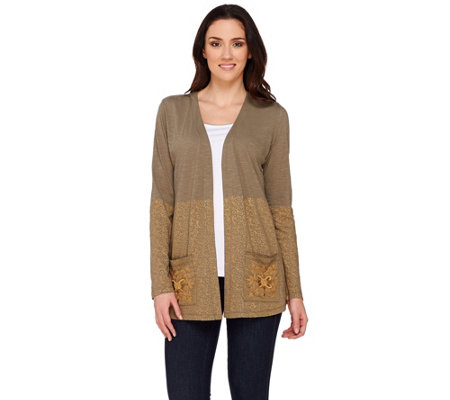 LOGO by Lori Goldstein Open Front Cardigan with Embellishments