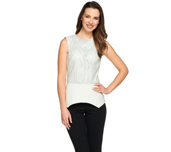 G.I.L.I. Perforated Faux Leather Top with Ponte Peplum Hem - A274385