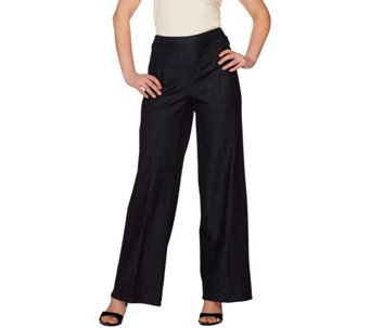 H by Halston Studio Stretch Pull-on Wide Leg Pants - A274585