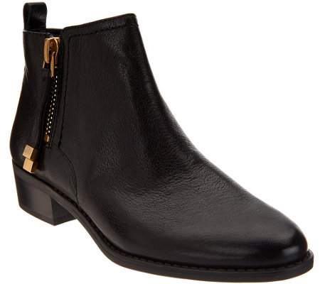 """As Is"" Franco Sarto Leather Ankle Boots w/ Side Zipper - Skylar"