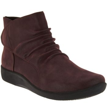 Clarks Cloud Steppers Ruched Ankle Boots - Sillian Sway