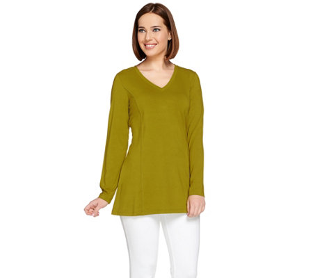 """As Is"" Susan Graver Dolce Knit Long Sleeve V-Neck Tunic"