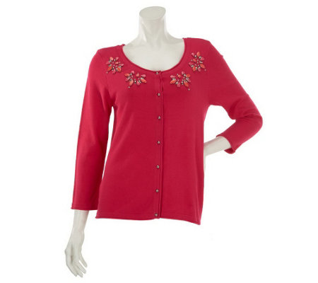 """As Is"" Kelly by Clinton Kelly Button Front Cardigan w/ Bead Detail"
