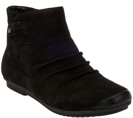 Earth Leather Ankle Boots with Ruching - Bliss