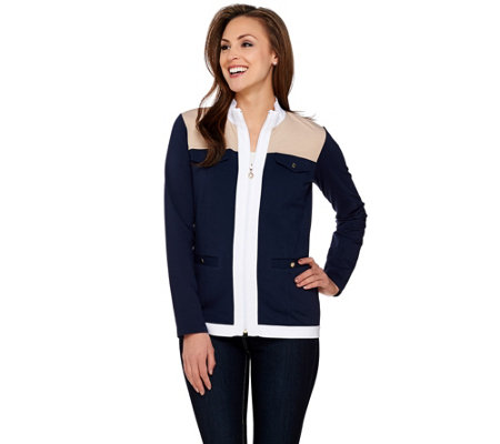 """As Is"" Susan Graver Weekend French Terry Color-Block Zip Front Jacket"
