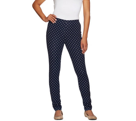 """As Is"" Susan Graver Weekend Printed Stretch Cotton Leggings"