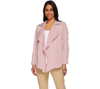 """As Is"" Joan Rivers Silky Drape Front Jacket - A284285"