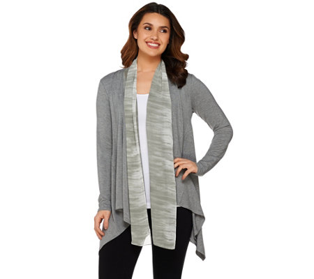 """As Is"" LOGO by Lori Goldstein Knit Cardigan with Ombre Chiffon Trim"
