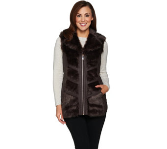 Dennis Basso Platinum Collection Chevron Faux Fur Vest - A285585