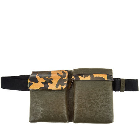 G.I.L.I. Leather Haloguard Fanny Pack with Camo Trim