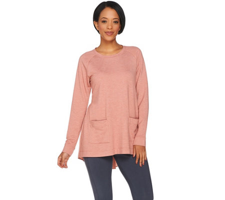 LOGO Lounge by Lori Goldstein Raglan Sleeve Top with Woven Shirttail